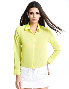 ieftine Chic Shirts-Dame În V Cămașă Casul/Zilnic Simplu(ă),Mată Manșon Lung Vară-Albastru Roșu Alb Negru Galben Mediu Poliester