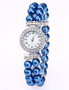Women's Bracelet Watch Chinese Quartz Pearl Band Elegant White Red Pink Navy