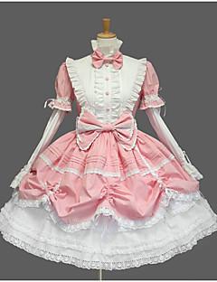 달콤한 로리타 프린세스 여성용 여아 한 조각 드레스 코스프레 캡 짧은 소매 숏 / 미니