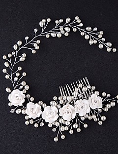 cheap Homecoming 2018-Tulle Tiaras Hair Combs Flowers with Feather 1 Event/Party Headpiece