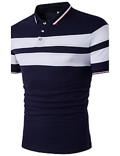 Men's Casual/Daily Simple Polo,Color Block Shirt Collar Short Sleeves Cotton Polyester