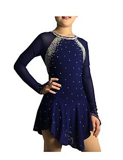 Eiskunstlaufkleid Damen Mädchen Eiskunstlaufkleider Dunkelblau Elasthan Elastan Hochelastisch Mit Steinen verziert Strass Leistung