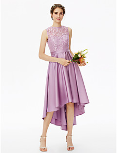 cheap Short Bridesmaid Dresses-A-Line Jewel Neck Asymmetrical Lace Satin Bridesmaid Dress with Lace Sash / Ribbon Pleats by LAN TING BRIDE®