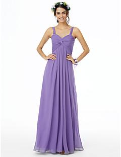 cheap Long Bridesmaid Dresses-Sheath / Column Straps Floor Length Chiffon Bridesmaid Dress with Pleats Ruched Criss Cross by LAN TING BRIDE®