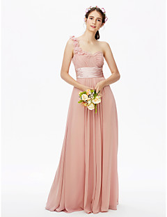 cheap Romance Blush-A-Line One Shoulder Floor Length Chiffon Bridesmaid Dress with Sash / Ribbon Pleats Flower Ruched Criss Cross by LAN TING BRIDE®
