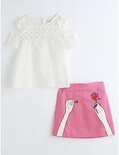 cheap Kids' New Ins-Girls' Geometric Clothing Set, Cotton Summer Short Sleeves White
