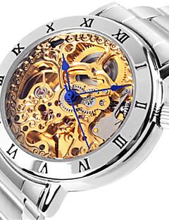女性用 機械式時計 スケルトン腕時計 ファッションウォッチ 自動巻き 耐水 合金 バンド シルバー ピンク