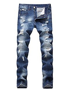 billige Herrebukser og -shorts-Herre Bomull Tynn Jeans Bukser - Uthult, Ensfarget