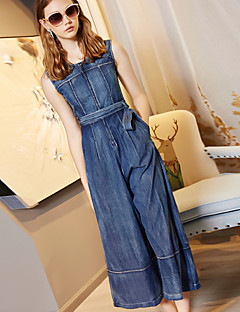 Women's Going out Casual/Daily Simple Solid Color Round Neck Jumpsuits,Wide Leg Sleeveless Summer Fall Cotton LYOCELL