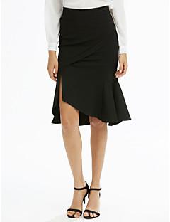 billige Plus Størrelser-Dame-Dame Plusstørrelser Havfrue Bodycon Nederdele - Arbejde Ensfarvet, Drapering Delt