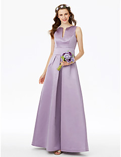 cheap Long Bridesmaid Dresses-A-Line Notched Floor Length Satin Bridesmaid Dress with Pocket Pleats by LAN TING BRIDE®