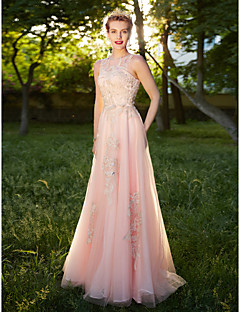 A-Line Jewel Neck Floor Length Tulle Formal Evening Dress with Appliques Crystal Detailing by TS Couture®