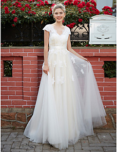 A Line V Neck Floor Length Lace Over Tulle Wedding Dress With Liques Sash Ribbon By Lan Ting Bride