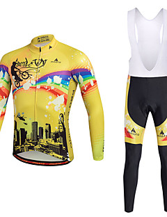 cheap Cycling Jersey & Shorts / Pants Sets-Miloto Men's Cycling Jersey with Bib Tights - Yellow Bike Clothing Suits Polyester Lycra