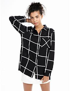 Kadın İnce Suni İpek / Polyester Uzun Kollu Gömlek Yaka Tüm Mevsimler Çizgili Sade Günlük/Sade Siyah-Kadın Gömlek