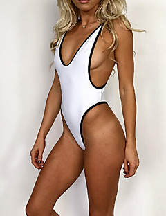 Women's Sporty Look Halter One-piece Plunging Neckline Solid Sport Solid