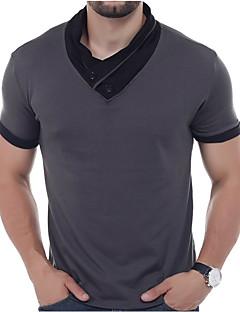 メンズ 日常 カジュアル Polo,シンプル ストリートファッション 活発的 Vネック ソリッド パッチワーク コットン 半袖