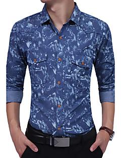 Bomull Bomullsblanding Langermet,Skjortekrage Skjorte Jacquardvevnad Mote Jeans Alle sesonger Vintage Enkel BohemDaglig Avslappet