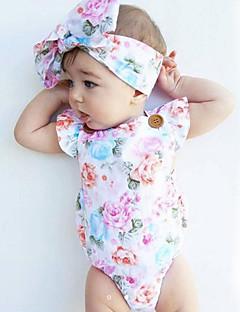 billige Babytøj-Baby Pige En del Vintage Mode, Bomuld Sommer Uden ærmer Blomster Hvid