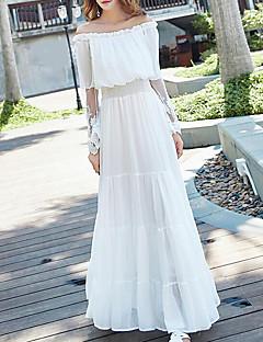 Damen Lose Kleid-Lässig/Alltäglich Einfach Solide Bateau Maxi Langarm Polyester Sommer Hohe Hüfthöhe Unelastisch Dünn