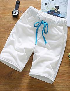 billige Herrebukser og -shorts-Herre Aktiv Avslappet / Shorts Bukser Ensfarget Høy Midje / Helg