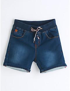 Para Meninos Jeans Cor Única Estampado Verão Algodão
