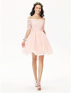 cheap Bridesmaid Dresses-Princess Off Shoulder Short / Mini All Over Lace Bridesmaid Dress with Crystal Detailing Pleats Flower by LAN TING BRIDE®
