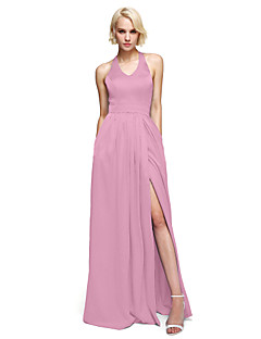cheap Long Bridesmaid Dresses-Sheath / Column V Neck Floor Length Satin Chiffon Bridesmaid Dress with Bow(s) Sash / Ribbon Pocket Split Front by LAN TING BRIDE®