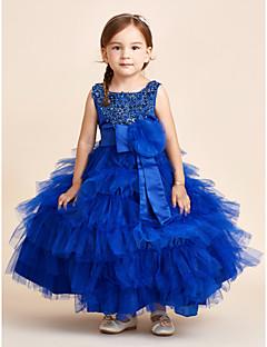 Rochie de mireasa glezna lungime rochie fata rochie - satin satin fara gratar bijuterie cu flori