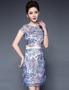 hesapli YBKCP-Kadın Büyük Beden Çin Stili Kılıf Elbise Çiçekli,Kısa Kollu Yuvarlak Yaka Diz üstü Polyester Bahar Yaz Normal Bel Esnemez Orta