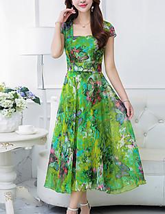 お買い得  レディースドレス-女性用 プラスサイズ ボヘミアン シフォン スウィング ドレス - プリント マキシ スクエアネック