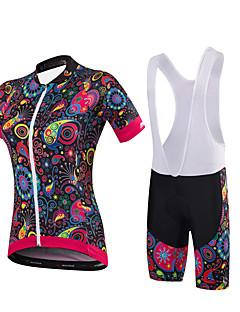 Malciklo Sykkeljersey med bib-shorts Dame Kortermet Sykkel Klessett Fort Tørring Anatomisk design Pustende SvettereduserendeLYCRA®