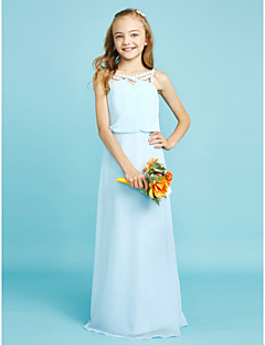 cheap Junior Bridesmaid Dresses-Sheath / Column Straps Floor Length Chiffon Junior Bridesmaid Dress with Crystal Detailing by LAN TING BRIDE®