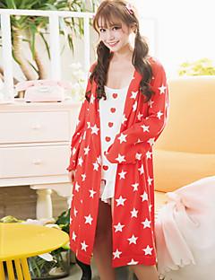 Ženský plášť sladký hvězdný obloha vzor jednoduchý volný čas měkké prádlo na spaní