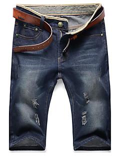 Herre Enkel Uelastisk Jeans Bukser,Rett Mellomhøyt liv Ensfarget