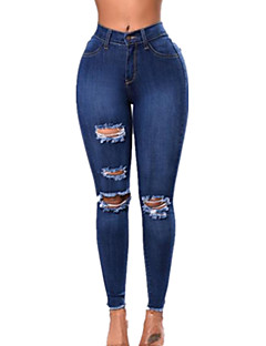 cheap Women's Pants-Women's Denim Denim Shredded Solid Color Legging Solid Colored