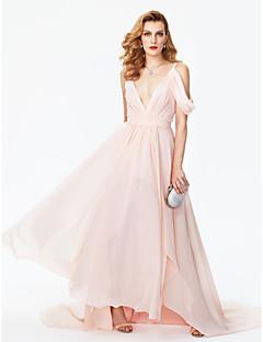 A-라인 V-넥 코트 트레인 쉬폰 포멀 이브닝 드레스 와 허리끈/리본 앞면 트임 주름 으로 TS Couture®
