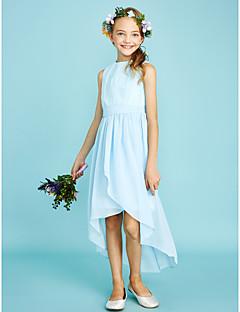 billige Bryllupsbutikken-Tube / kolonne Besmykket Asymmetrisk Chiffon / Blonder Junior brudepikekjole med Plissert av LAN TING BRIDE® / Naturlig