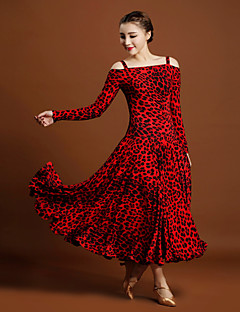 Ballroom Dance Dresses Women's Ice Silk Animal Print Long Sleeve Natural Dresses