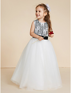 cheap Flower Girl Dresses-Ball Gown Floor Length Flower Girl Dress - Lace Tulle Sleeveless Jewel Neck with Appliques Lace Sash / Ribbon by LAN TING BRIDE®