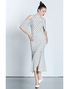 Χαμηλού Κόστους ZIYI-Γυναικεία Σιφόν Φόρεμα - Πουά, Σκίσιμο Ώμοι Έξω