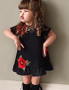 Mädchen Kleid Modisch Blumen Baumwolle Sommer Kurzarm
