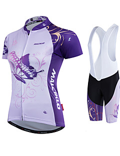 cheap Cycling Jersey & Shorts / Pants Sets-Malciklo Women's Cycling Jersey with Shorts - White Black Bike Clothing Suits Polyester
