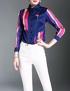 여성 프린트 셔츠 카라 긴 소매 셔츠,시누아즈리 캐쥬얼/데일리 작동 폴리에스테르 봄 여름 얇음