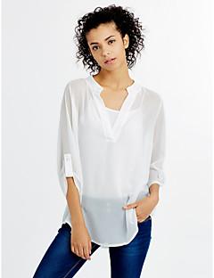 Χαμηλού Κόστους Chic Shirts-Γυναικεία Μπλούζα Μονόχρωμο Λαιμόκοψη V Σουρωτά Πολυεστέρας