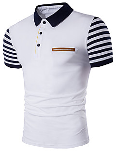 Men's Daily Casual Polo,Striped Color Block Shirt Collar Short Sleeves Cotton Polyester