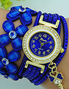 Damen Armband-Uhr Quartz Strass Leder Band Blume Böhmische Schwarz Blau Rot Braun