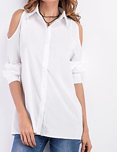 Women's Going out Vintage Spring Fall Shirt,Solid V Neck Long Sleeves Others Thin