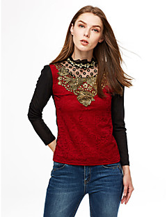 Women's Lace Casual/Daily/Plus Size Simple Spring/Fall/Winter Blouse,Solid Stand Long Sleeve Red/Black Polyester Medium