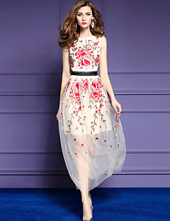 お買い得  レディースドレス-女性用 モダンシティ Aライン シース スウィング ドレス - スタイリッシュ 刺繍, 刺しゅう ミディ